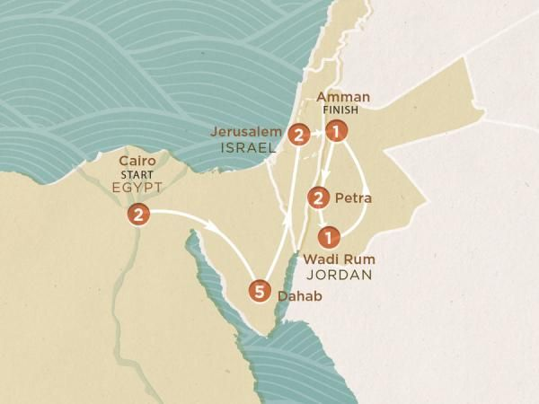 2016 Map of Pyramids to Petra trip - MXEKCA