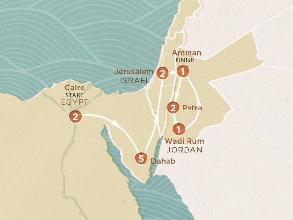 2016 Map of Pyramids to Petra trip - MXEKCA