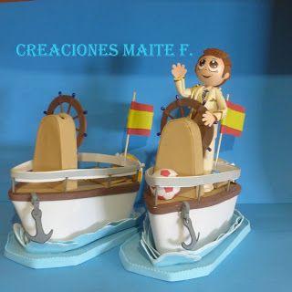 FOFUCHAS. Manualidades y Creaciones Maite: BARCO HUCHA CON FOFUCHO NIÑO DE COMUNIÓN de capitán