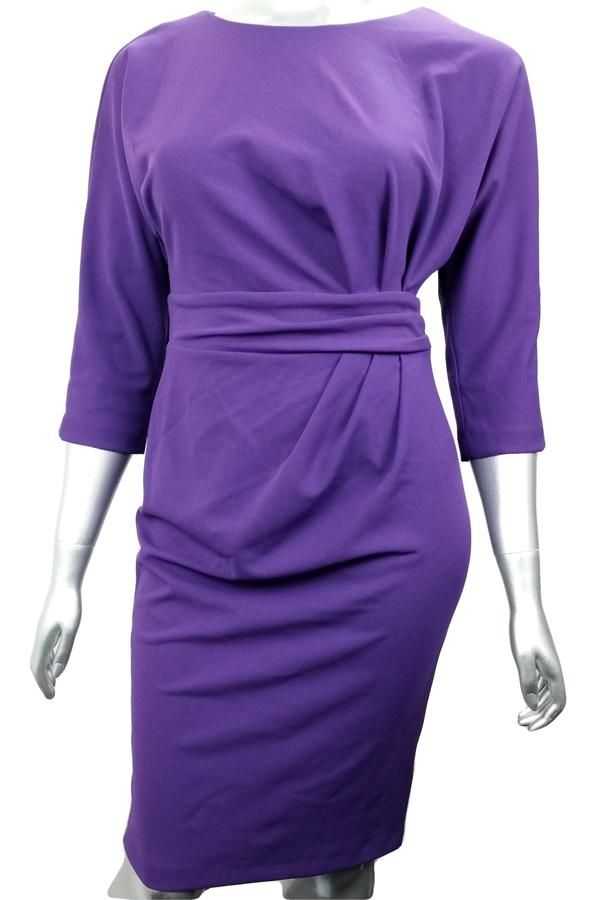 Purple gathered work dress with batwing sleeve