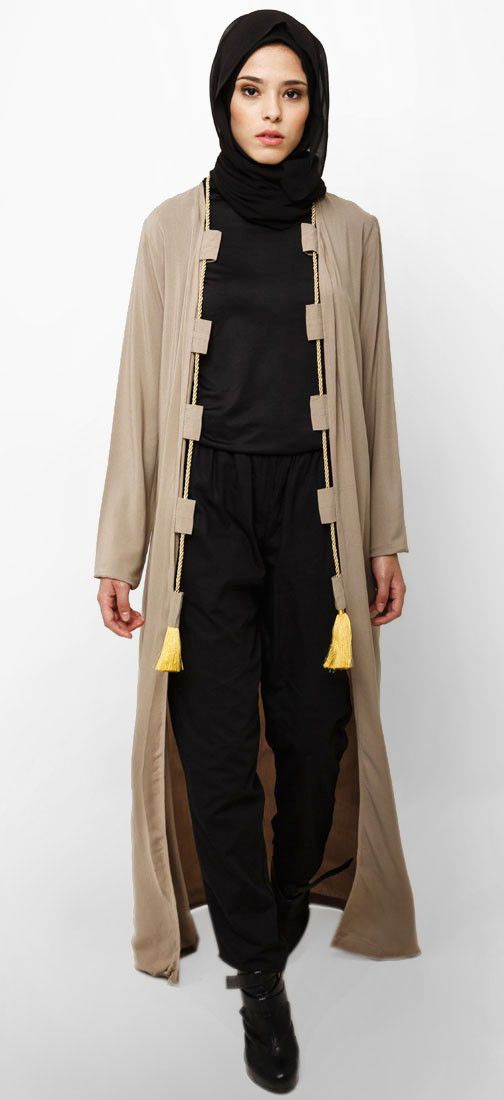 Sonia Long Cardi by Jenahara for Zalora. with khaki color, with tassel rope in front, regular fit. Open front cardi, long sleeve. This outer is perfect for your casual or formal look. http://zocko.it/LEJ1y