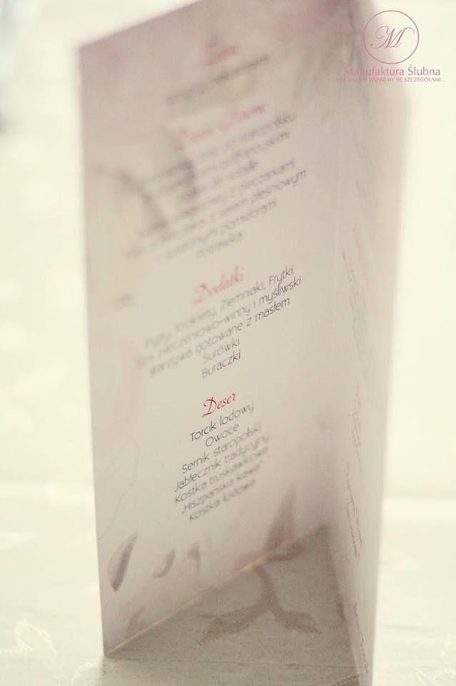 #menu #wedding #day #paper #decorations #elegant #style #white #pink #stationery #bride #groom #wesele #ślub #elegancki #styl #biel #róż #papeteria #pannamłoda #panmłody