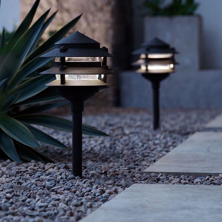 Three Tier Pagoda 12 H Bronze Led Landscape Path Light 2c488 Lamps Plus Path Lights Exterior Light Fixtures Landscape Lighting