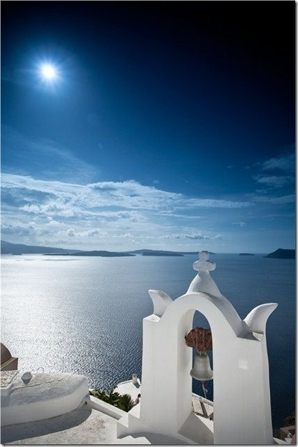 Full moon shades of blue in Oia village, Santorini island, Greece. - selected by www.oiamansion.com