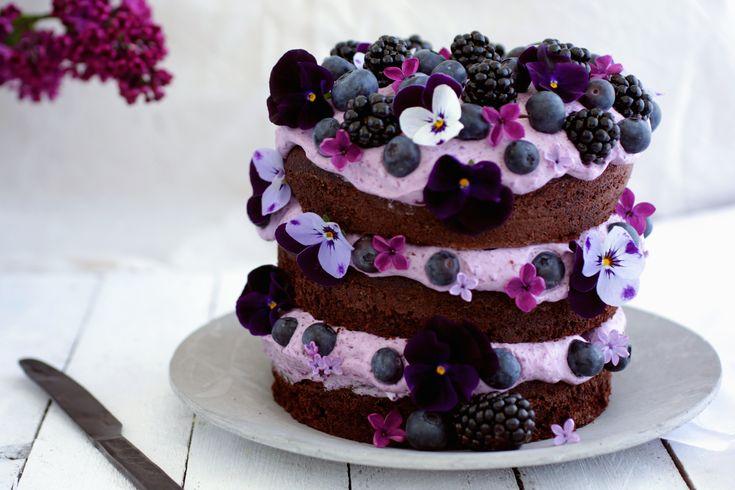 chokoladekage med blåbær brombær creme