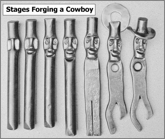 Aluminum Brass Working France: Bottle Opener Hand Forged Cowboy By MountSharonForge On