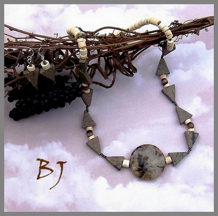 Triangular Bliss In A Great Quartzite Needle Agate Necklace Set by BJ Rounds
