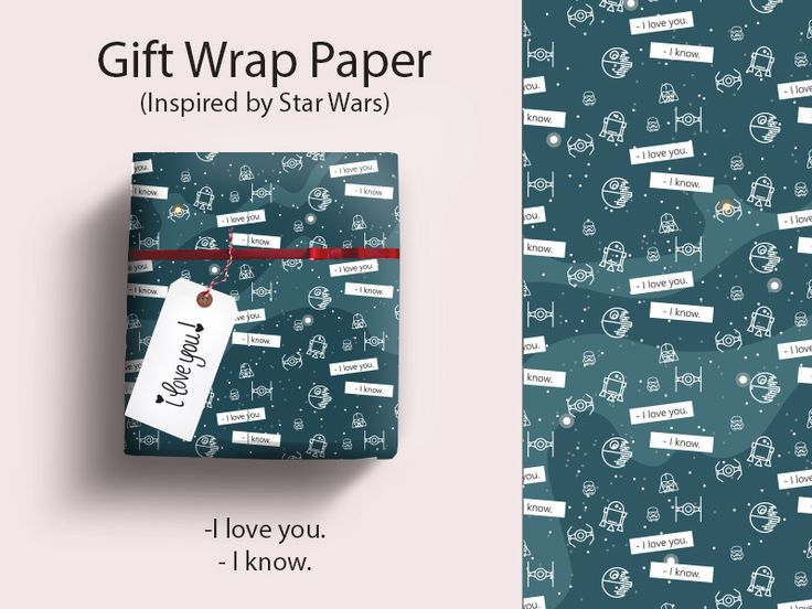 Star Wars Gift Wrap Paper, printable, wrapping paper, galaxy, space, geek, nerd, i love you, i know, darth vader, stormtrooper, r2d2, princess leia, han solo, tie fighters, death star, gift, download