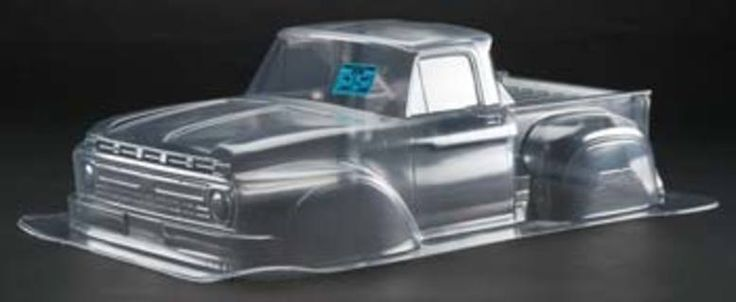 CKRC Hobbies  This is the 1/10 scale '66 Ford F-100 Clear Body from ProLine.  FEATURES: Fits the Team Associated 2WD SC10, Traxxas Slash, and Slash 4x4              (all require Extended Body Mounts-see REQUIRES)           Molded from genuine Lexan polycarbonate plastic           Old school  #CKRC #ckrchobbies #ford #f100 #clear #body #proline #rc #ckrccrawlers