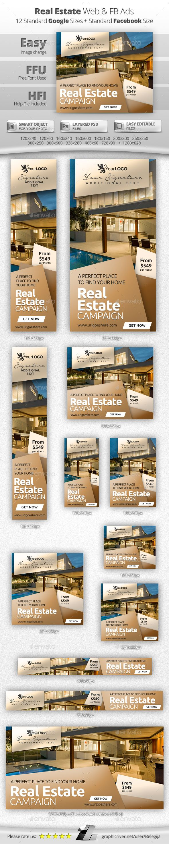 Real Estate Web & Facebook Banners Template #design #web Download: http://graphicriver.net/item/real-estate-web-facebook-banners/13108672?ref=ksioks