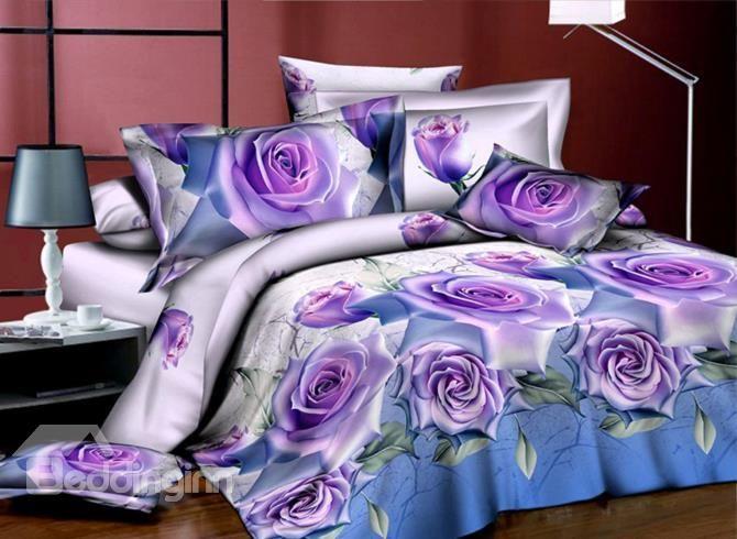 Very Beautiful Purple Roses Print 4-Piece 3D Polyester Duvet Cover Sets - beddinginn.com