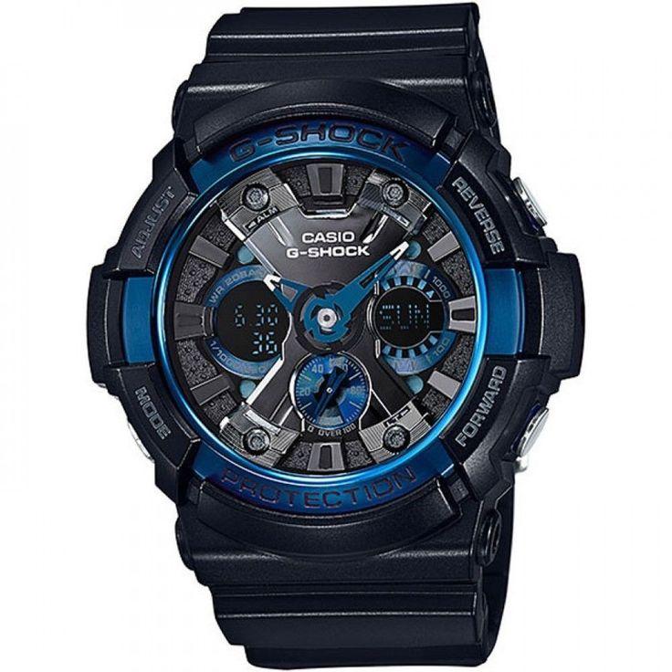 Casio GA200CB-1A Men's G-Shock World Time Black Resin Strap Ana-Digi Black Dial Alarm Dive Watch