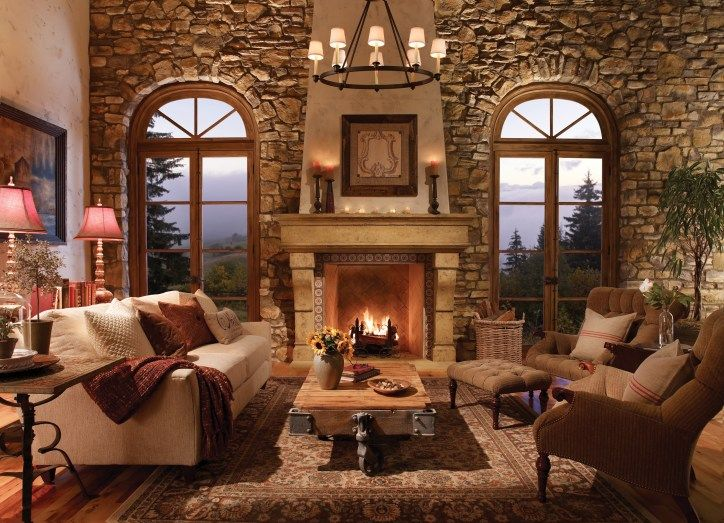 Tuscan Style Homes Interior Design Italy Wrought Iron Living Room Countryside Villa Arch Wooden Ceiling Chandelier Fireplace