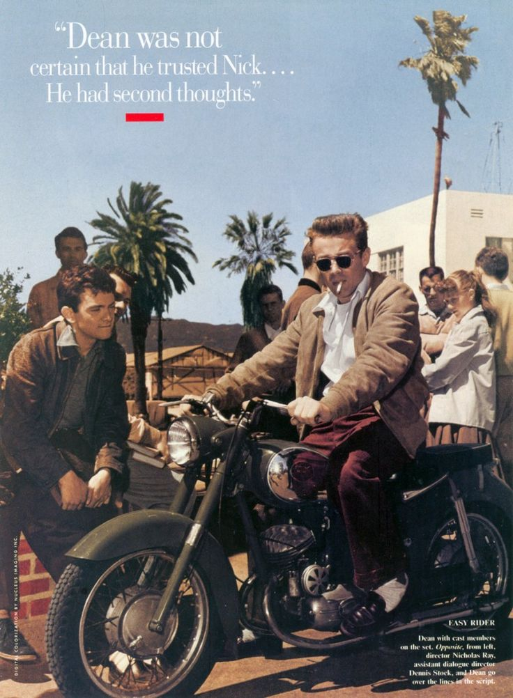 James Dean in a Puch while filming Rebel without a cause Jack Simmons is at the left