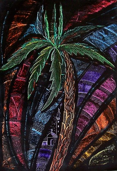 Palm Tree Crayon Etching By Barbara Beck Azar Artwanted