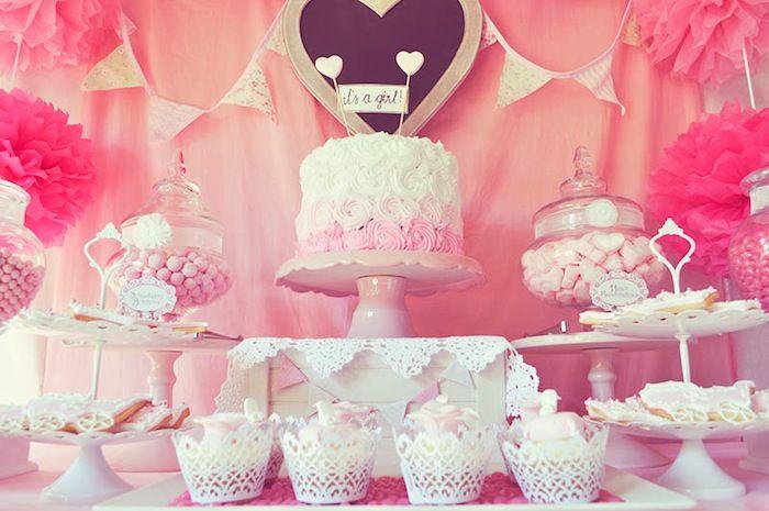 Pink FairyTale Baby Shower or Birthday Party ideas via Kara's Party Ideas KarasPartyIdeas.com #fairytalepartyideas #pinkparty #decor #cake (2)