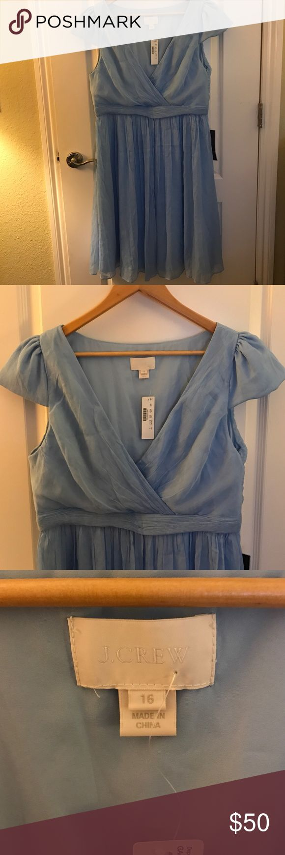 J. Crew bridesmaid dress-16 Beautiful crepe wedding dress-new with tags. Never worn. Purchased for a wedding that did not happen. Pleated skirt hits just below the knee. Slightly wrinkled due to storage, but just needs a good steaming. J. Crew Dresses Wedding