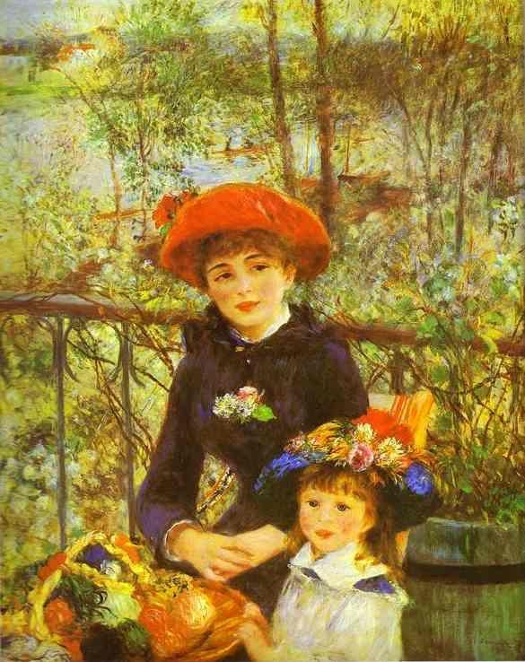 Pierre Auguste Renoir Two Sisters (On the Terrace) Painting: Two Sisters, 1841 1919, Pierre August Renoir, Fine Art, Art Institute, Artist, Terraces, Paintings, 1881