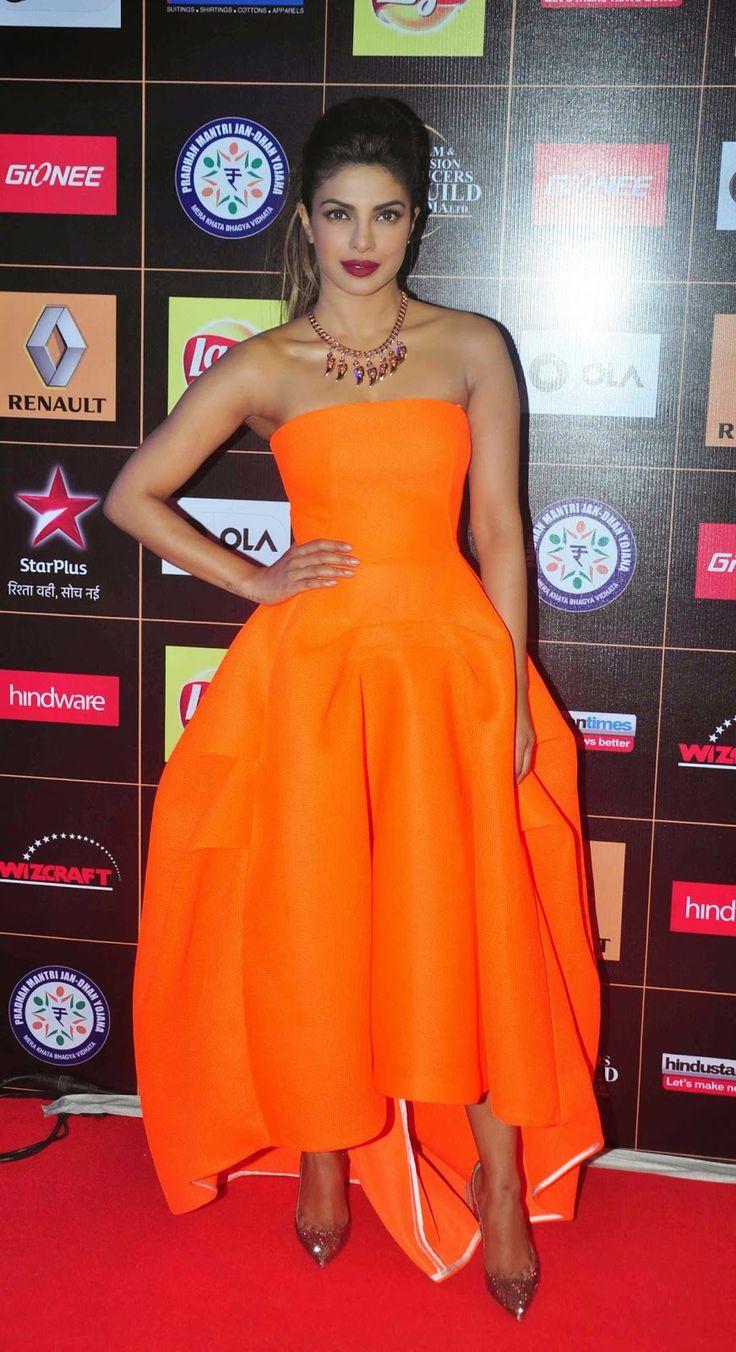 Priyanka Chopra Orange Strapless Dress at the Star Guild Awards ...