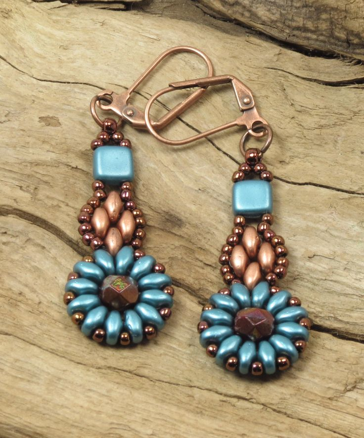 SUPERDUO FLOWER DANGLE Earrings-Pastel Emerald SuperDuos and Tiles-Matte Metallic Copper-Fire Polish-Toho Seed Beads-Leverback Earwires by CinfulBeadCreations on Etsy