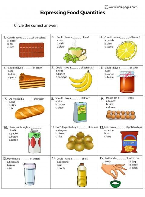food quantities worksheets english pinterest