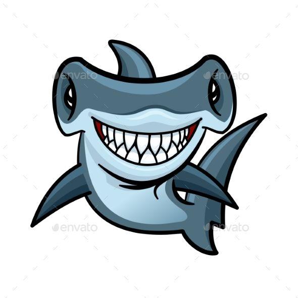 Happy Cartoon Hammerhead Shark Character Shark Art Hammerhead Shark Shark Drawing