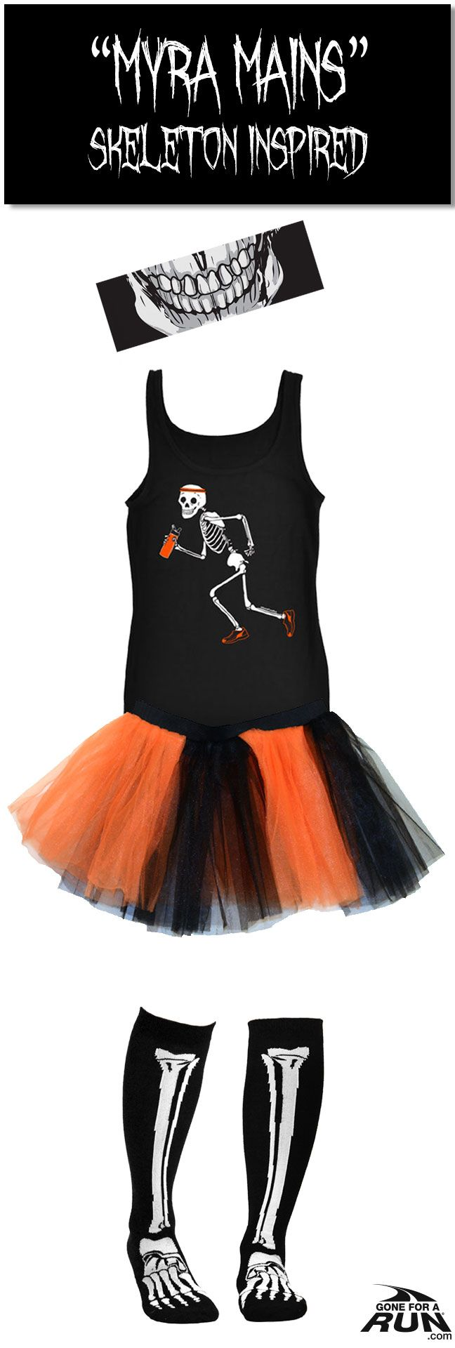 Make up your own #costume, or check out one of our original ideas: Show off what those old #skeleton bones can do with our Women's #skeleton inspired Halloween runner's costume! Get in a #spooky fun mood with our #Halloween inspired running apparel! From shirts to socks and more, you'll find something to suit you and your running friends haunted moods!