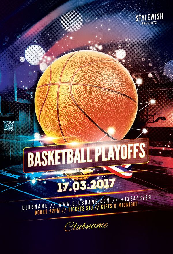 Basketball Playoffs Flyer Template by styleWish (Buy PSD file $9)