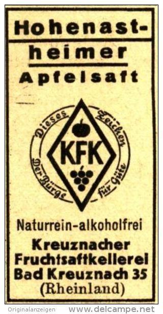 Original-Werbung/ Anzeige 1935 - HOHENASTHEIMER APFELSAFT / KFK BAD KREUZNACH  - Ca.  20 X 45 Mm - Werbung