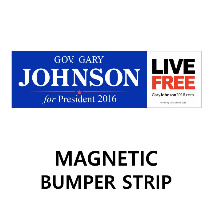$15 bumper magnet-Gary Johnson 2016 Official campaign store- Purchases directly benefit the campaign.