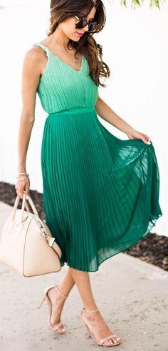 Emerald green ombre midi dress
