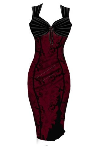 Red and black dress with mesh overlay and gathers at the bust.