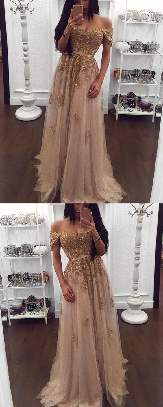 Gold lace beaded sweetheart tulle prom dresses offtheshoulder