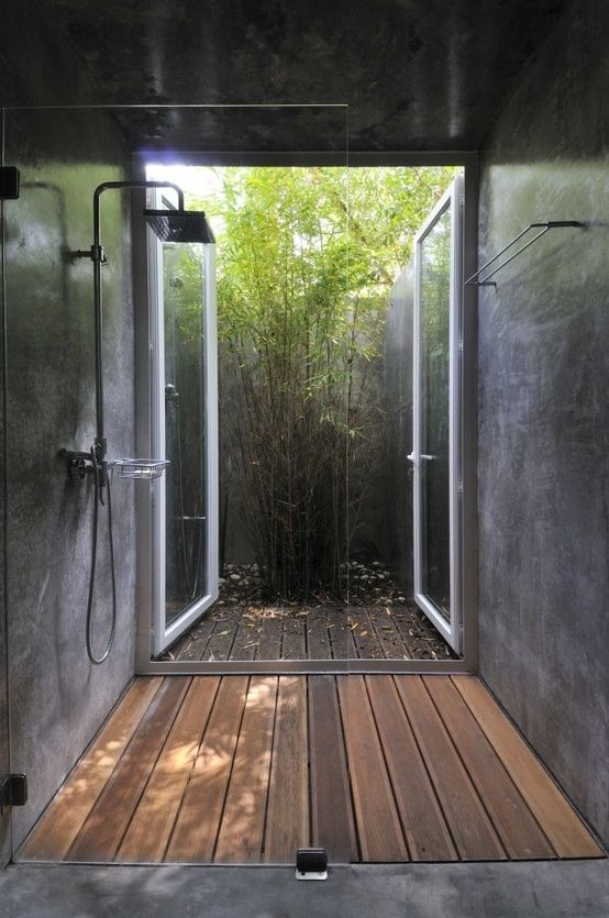 Inspiring 45 Outdoor Bathroom Designs That You Gonna Love : 45 Outdoor Bathroom Designs With Black Stone Wall Shower Glass Window And Hardwood Floor With Bamboo Tree Decor