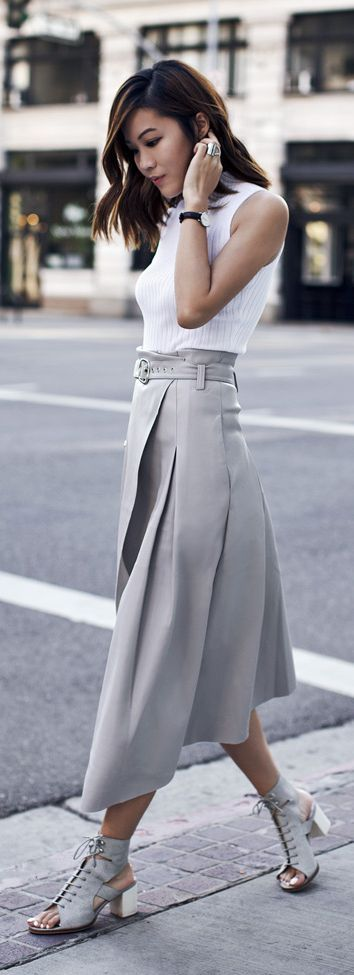 JW FIELD SERVICE | #jw #jwfashion #jw_modest_fashion | Grey Leather Skirt by Tsangtastic