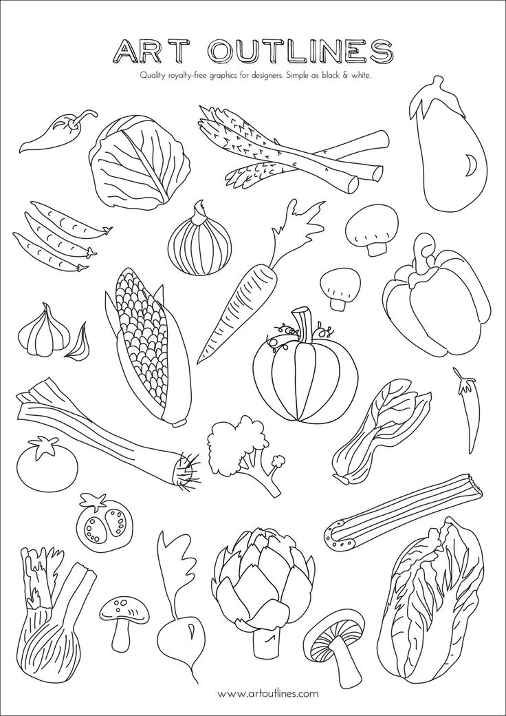 Set of Vegetables Art Outlines Full Page 29 by ArtOutlines