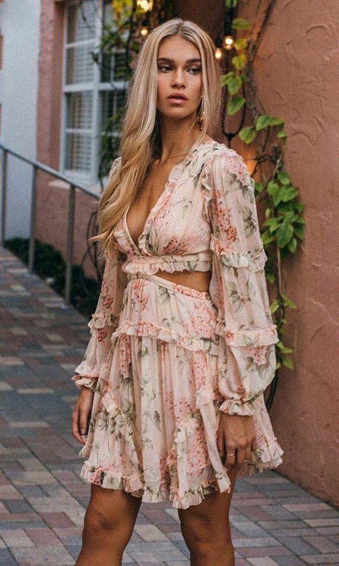 Kleid pink beige