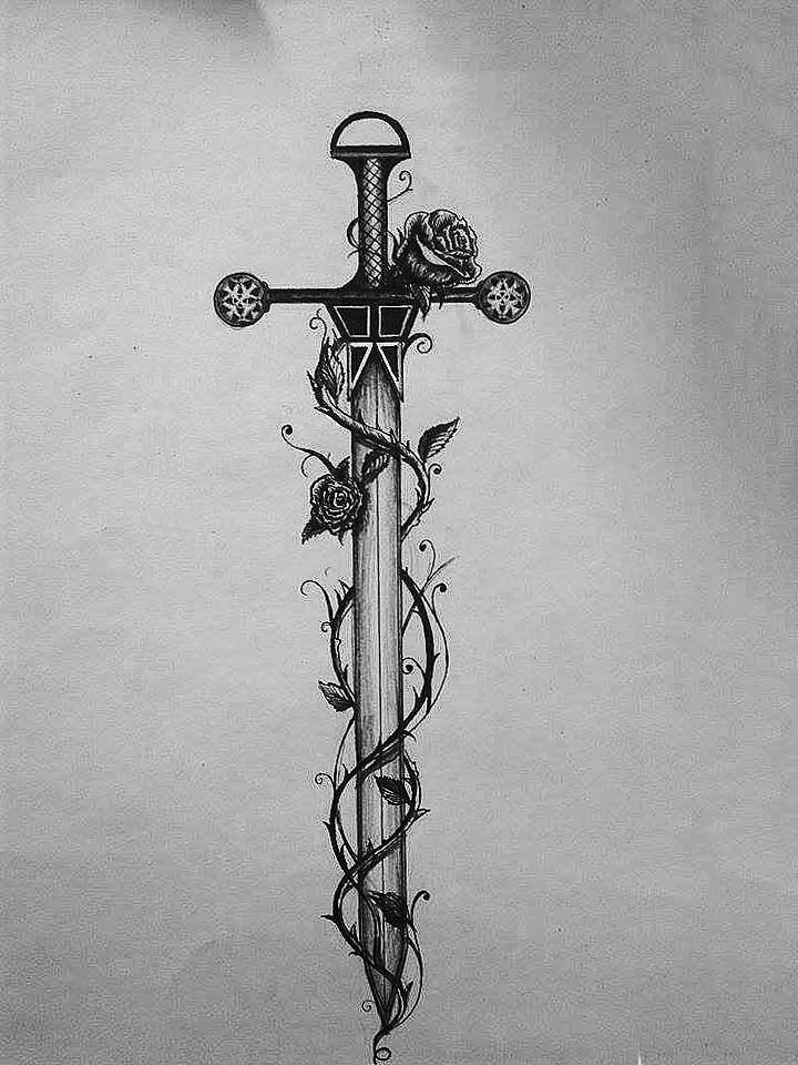 sword and roses, tattoo design, sketch