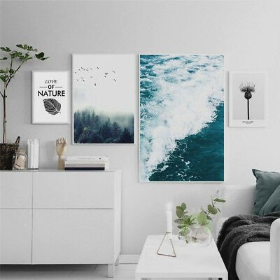Qu_ Modern Forest Sea Wave Canvas Painting Poster Picture Wall Art Home Decor Ca…