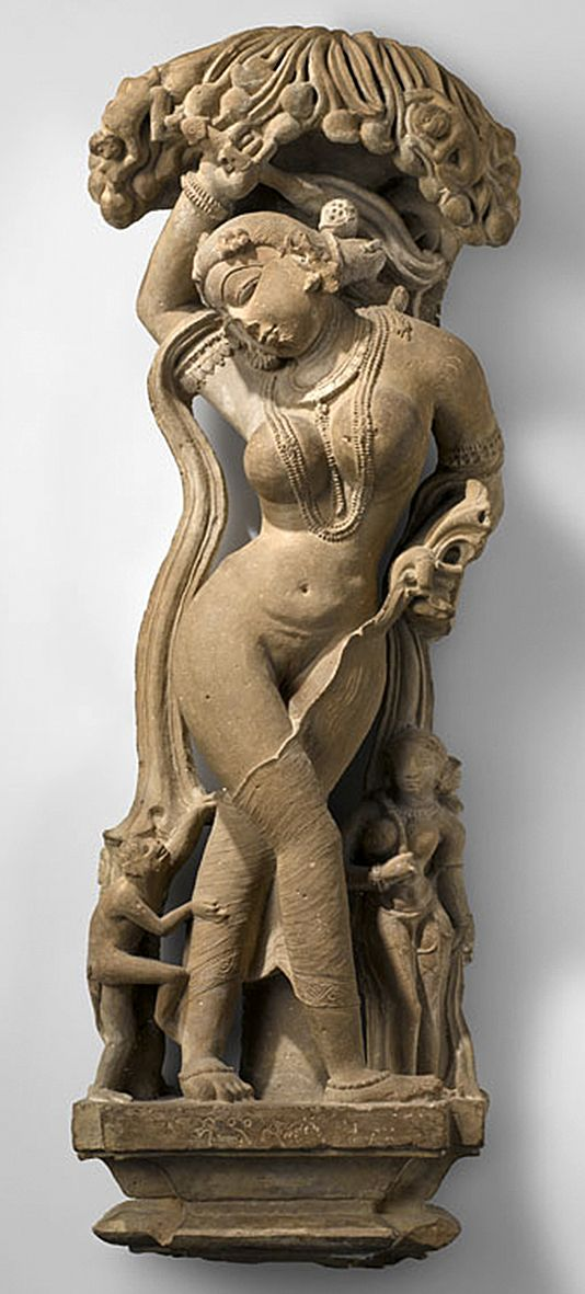 Woman from Khajuraho, India, Stone Sculpture, ca. 9th - 14th Century CE.