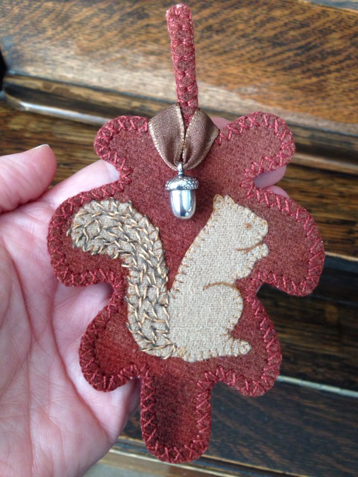 """Wool hand appliqué needle book by Mary Ann Thom. Squirrel and acorns! """"Nuts"""" kit from Pretty Penny Pre Cuts."""