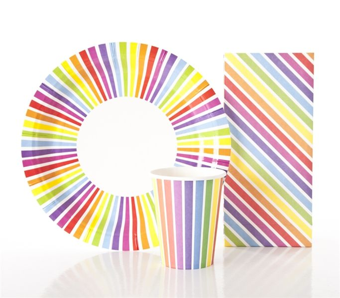 Rainbow plate, cups & goody bags - inviteme