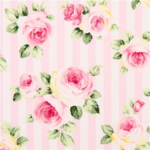 rosa-weiß gestreifter Blumen Rosen Stoff von Cosmo Cosmo