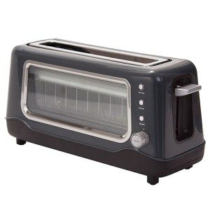 Dash Clear View Toaster:  Featuring a clear see-through window, this toaster is a treat to watch. You'll get perfectly browned toast every time and the best part is you'll be able to see the bread changing its color so if at anytime you think that the desired brown-ness has been achieved, you'll be able to stop it.The toaster is exceptionally popular with the kids.