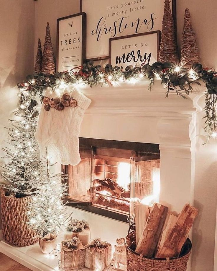 100 Rustic Christmas Decor Ideas That Brings Back The Traditional Festive Vibe In Your Christmas Mantel Decorations Christmas Fireplace Christmas Decorations