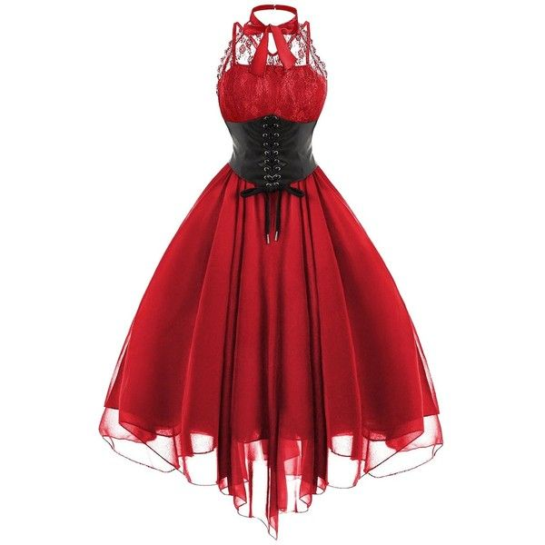 Gothic Cross Back Lace Panel Corset Dress ($31) ❤ liked on Polyvore featuring dresses, corset dresses, goth corset dress, red vintage dress, vintage cocktail dresses and gothic corset dresses