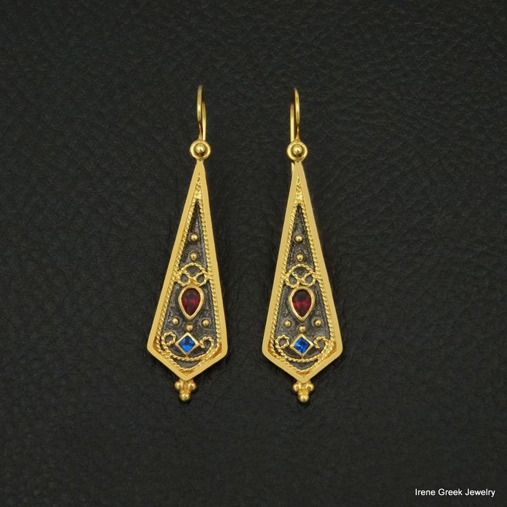RUBY SAPPHIRE BYZANTINE 925 STERLING SILVER 22K GOLD & RHODIUM PLATED EARRINGS #IreneGreekJewelry #DropDangle