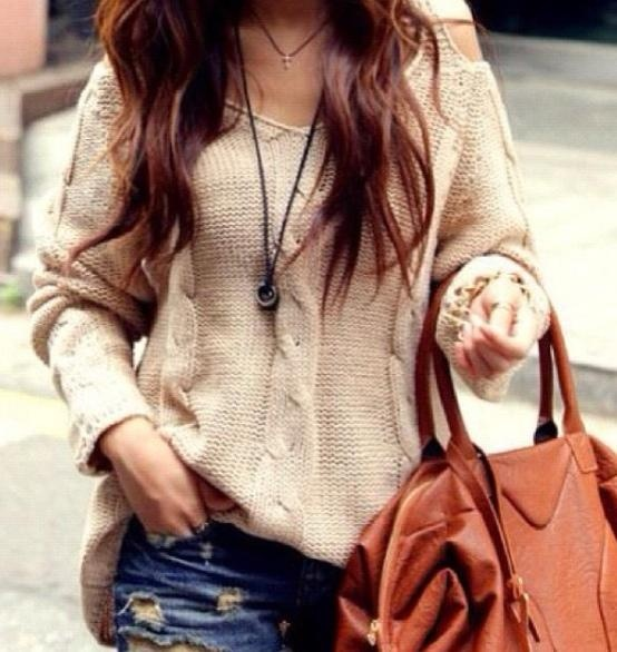 Chunky knit sweater and Denim shorts