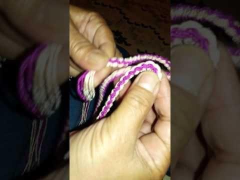 Wayuu çanta 2 renkli barmak işi bağcık yapımı - YouTube