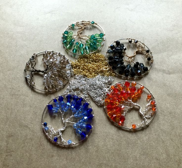 Necklace trees of autumn with Silver / Gold plated Chain - accept order inbox  with choice of crystals and wire colors
